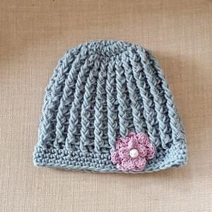 Handmade Knitted Blue Hat / Tuque with flower